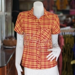 เสื้อผ้าฝ้ายทอลายสก็อตปกเชิ้ต สีแดงเหลือง ไซส์ L