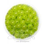 ลูกปัดพลาสติก เคลือบรุ้ง 8มม. สีเขียวตอง (15 กรัม)