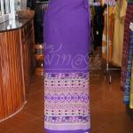 ผ้าถุงผ้าฝ้ายพิมพ์ลาย มีเชือกผูกเอว ฟรีไซส์ สีม่วง