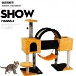 คอนโดแมวห้าชั้น ต้นไม้แมว มีเปลพักผ่อน กล่องบ้านอุโมงค์ 2 หลังเชื่อมต่อกัน สูง 125 cm