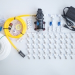 ชุดพ่นหมอก ลดกลิ่น ลดฝุ่น 50 หัวพ่น ปั๊มพ่นยา 12VDC 100W 11 บาร์ หัวก้านเสียบ 0.5 mm