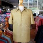 เสื้อสูทไหมผสมฝ้าย สีเขียวทอง ไซส์ L