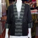 เสื้อคลุมผ้าฝ้ายสุโขทัยสีดำแต่งผ้าลายมัดหมี่สุโขทัย ไซส์ 3XL
