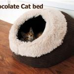MU0019 ที่นอนแมวอบอุ่น หนานุ่ม รูปทรงเหมือนโพลงไม้ Chocolate Cat bed