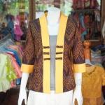 เสื้อคลุมผ้าฝ้ายสุโขทัย แต่งผ้าทอลายมัดหมี่ ไซส์ L