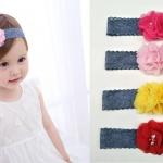 ผ้าคาดผมเด็ก ผ้าคาดผมเด็กอ่อน ลายลูกไม้ดอกไม้ ดอกไม้สวยๆขนาดใหญ่ น่ารัก