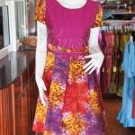 เดรสผ้าฝ้ายสุโขทัยแต่งผ้าฝ้ายบาติก ไซส์ XL