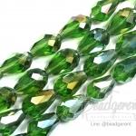 คริสตัลโมดาห์ 10x16มม. ทรงหยดน้ำ สีเขียวเข้ม (40 เม็ด)
