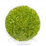 ลูกปัดเม็ดทราย 6/0 โทนรุ้ง สีเขียวตอง (100 กรัม)