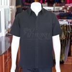 เสื้อเชิ้ตผ้าโอซาก้าสีดำ ไม่อัดผ้ากาว ไซส์ S