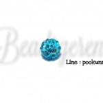 ลูกปัดฝังเพชร 8มม. สีฟ้า (1 ชิ้น)