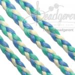 เชือกเปียถัก 3เส้น 6มม. สีน้ำเงิน-เขียวมิ้น-ขาว (1 หลา)