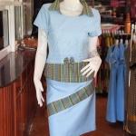 ชุดเสื้อกระโปรงผ้าฝ้ายสุโขทัยแต่งลายมุกสายรุ้งปกเชิ้ต ไซส์ M