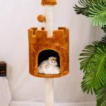 คอนโดแมว ที่นอนแมวทรงปราสาท สีน้ำตาล สูง 120 cm