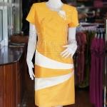 เดรสผ้าไหมแพรทองแต่งสลับสี สีหลือง ไซส์ L