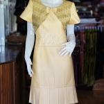 เดรสผ้าฝ้ายสุโขทัยสีเหลืองแต่งผ้าลายมัดหมี่สุโขทัย ไซส์ XL