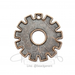 Steel Pendant 28mm Gear Rusty-Red Color (1piece)