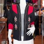 เสื้อคลุมผ้าฝ้ายสุโขทัยสีดำแต่งผ้าปักมือ ไซส์ XL