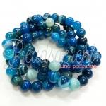 หิน blue agate 8มิล (47 เม็ด)