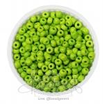 ลูกปัดเม็ดทราย 6/0 โทนด้าน สีเขียวตอง (100 กรัม)
