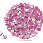 เลื่อมกลม ทรงจาน 8มิล โทนมุก สีม่วงหวาน (120 กรัม)