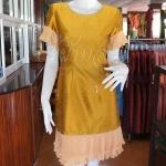 เดรสผ้าไหมแพรทองสีทองแต่งผ้าชีฟองอัดพลีท ไซส์ M