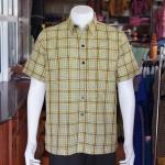 เสื้อเชิ้ตผ้าฝ้ายทอลายสก็อต ไม่อัดผ้ากาว ไซส์ XL