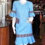 ชุดเสื้อกระโปรงผ้าฝ้ายสุโขทัยแต่งลายมุกสายรุ้ง ไซส์ XL