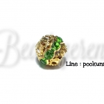 ลูกปัดทองล้อมเพชร 10มม. สีเขียว (1ชิ้น)