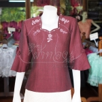 เสื้อผ้าฝ้ายสุโขทัย ปักมุก ไซส์ 3XL