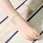 สร้อยข้อเท้าเกาหลีประดับมุกเงินสลับเพชร
