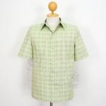 เสื้อสูทผ้าฝ้ายลายก้านมะลิ สีเขียวอ่อน ไซส์ 2XL