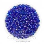 ลูกปัดเม็ดทราย 6/0 โทนรุ้ง สีน้ำเงินเข้ม (100 กรัม)
