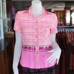 เสื้อผ้าทอลายช้างปกเชิ้ต สีชมพู ไซส์ XL