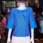 เสื้อผ้าฝ้ายสุโขทัยแต่งลูกไม้ปักมุก สีฟ้าคราม ไซส์ XL
