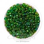 ลูกปัดเม็ดทราย 6/0 โทนรุ้ง สีเขียวเข้ม (100 กรัม)