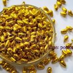 ลูกปัดพลาสติก 5*9มม. ลายหยดน้ำ สีทอง (15 กรัม)