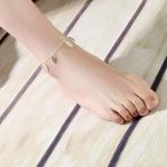 สร้อยข้อเท้าเกาหลีรูปใบไม้ประดับเงิน