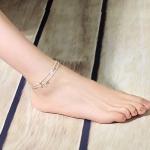 สร้อยข้อเท้าเกาหลีเงินรูปผีเสื้อสีเงิน