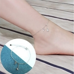 สร้อยข้อเท้าเกาหลีรูปดาวเคียงเดือนประดับเพชร