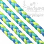 เชือกเปียถัก 3เส้น 6มม. สีน้ำเงิน-เขียวมิ้นท์-เขียว (1 หลา)