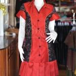 เดรสผ้าไหมแพรทองสีแดงปกเชิ้ตแต่งผ้ามัดหมี่ ไซส์ S