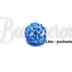 ลูกปัดฝังเพชร 12มิล สีฟ้าจืด (1 ชิ้น)