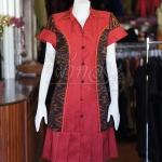 เดรสผ้าไหมแพรทองสีแดงปกเชิ้ตแต่งผ้ามัดหมี่ ไซส์ L