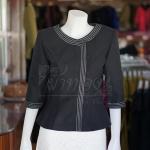 เสื้อผ้าฝ้ายสุโขทัยสีดำแต่งปักไหม ไซส์ 3XL