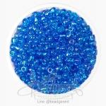 ลูกปัดเม็ดทราย 6/0 โทนรุ้ง สีฟ้าเข้ม (100 กรัม)