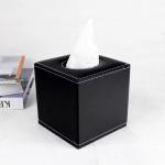 กล่องทิชชู่ หนัง pu สีดำ ใส่กระดาษทิชชู่ ขนาด 13cm x 13cm x 14cm
