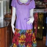 เดรสผ้าฝ้ายสุโขทัยสีม่วงแต่งผ้าฝ้ายบาติก ไซส์ M