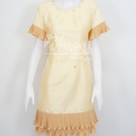 เดรสผ้าไหมแพรทองสีเหลืองอ่อนแต่งผ้าชีฟองอัดพลีท ไซส์ M