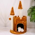คอนโดแมว ที่นอนแมวทรงปราสาท ขนนุ่มฟู สีน้ำตาล สูง 80 cm